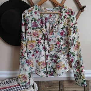 Tobi floral long sleeve blouse